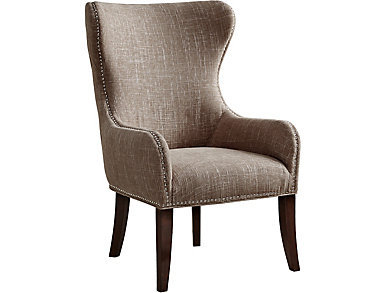 Hancock Wingback Chair, Beige/Sand, Beige, large