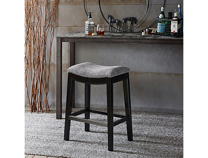 Grey Saddle Counter Stool, , large