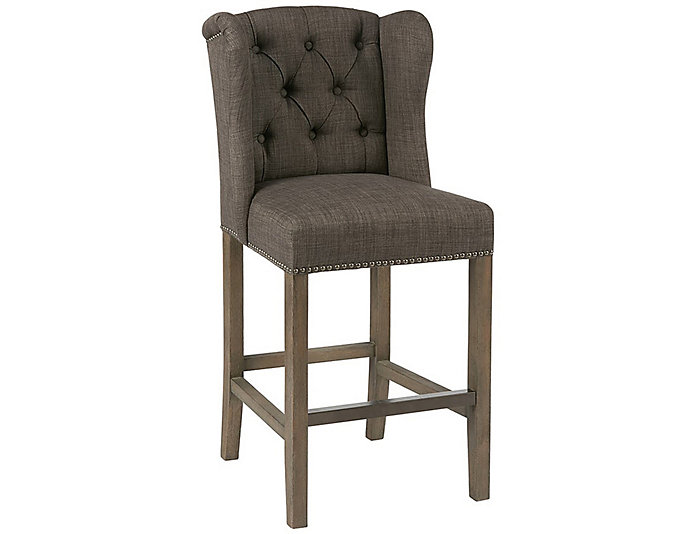 Grey Tufted Wing Counter Stool, , large