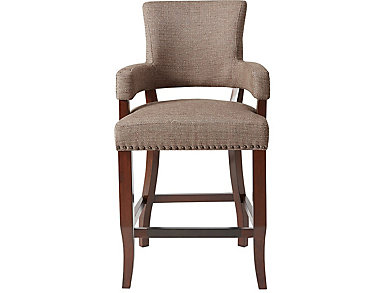 """Brown 26"""" Arm Counter Stool, Brown, large"""