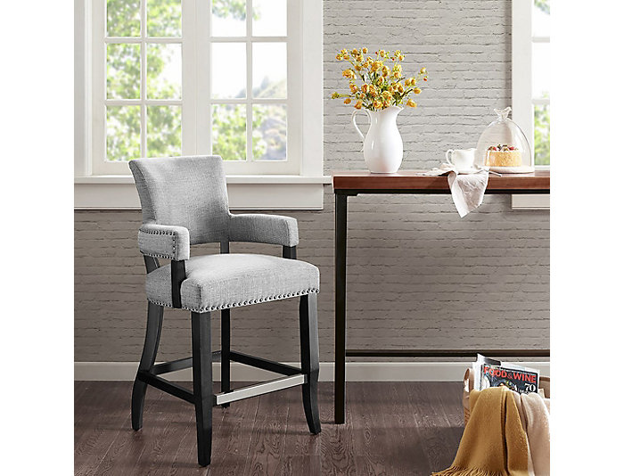"Grey 26"" Arm Counter Stool, , large"