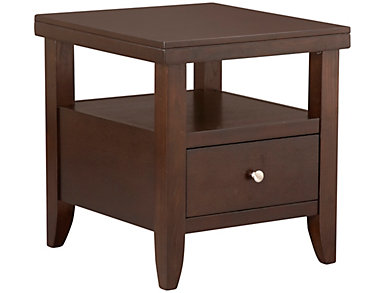 Marlon Black Drawer End Table