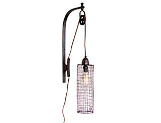 Wire Wall Lamp with Pulley, , large