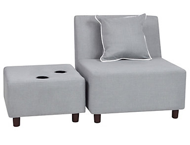 Tween Chair & Ottoman Grey, , large