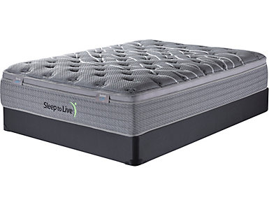 Sleep to Live Series 2.0  Full XL Blue/Blue Low Profile Mattress Set, , large