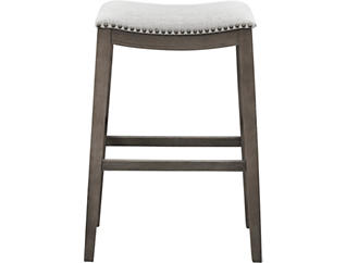 Dexter  White/Gray PU Saddle Stool, Grey, large