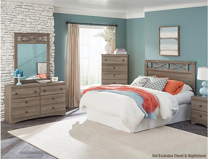 Mulberry 3 Piece Queen Bedroom Set, Grey, , Large