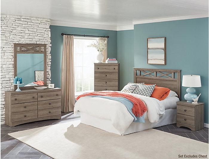 Mulberry 4 Piece Queen Bedroom Set. Dresser, Mirror, Nightstand, Queen  Headboard.