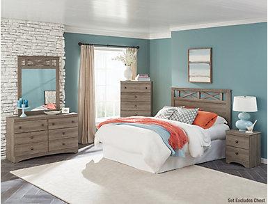 Mulberry 4 Piece Queen Bedroom Set, Grey, , large