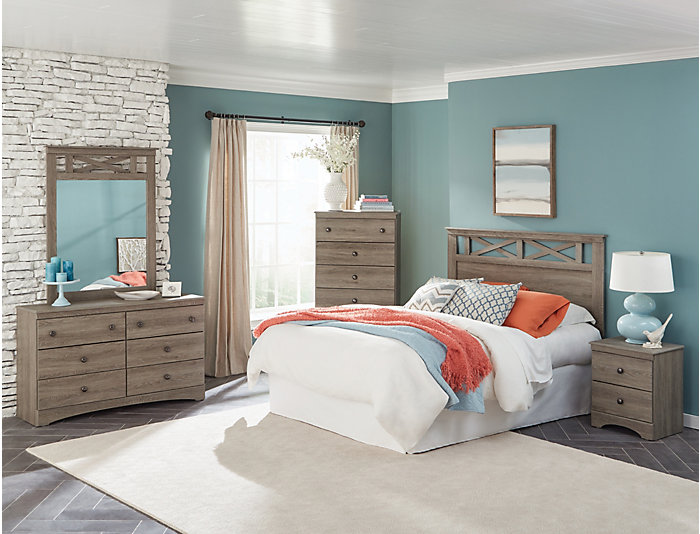 Mulberry 5 Piece Queen Bedroom Set, Grey
