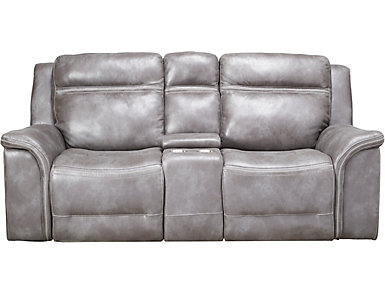 Huxley Dual Power Reclining Console Loveseat, Grey, , large