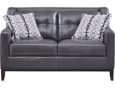Grigio II Leather Loveseat, , large