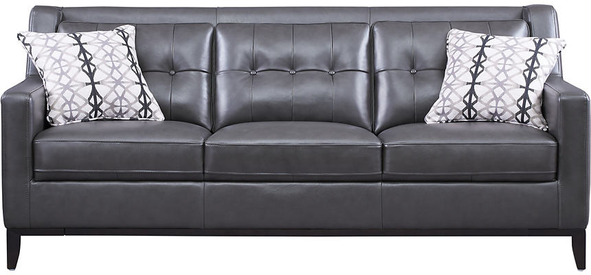 Grigio II Dark Grey Leather Sofa