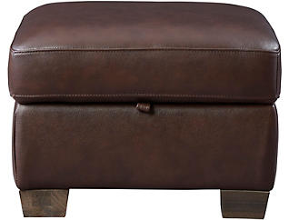 Dario III Leather Storage Ottoman, , large