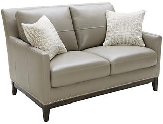 ROMA Genuine Leather Como Loveseat, Taupe and Ivory, , large