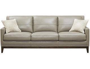 ROMA Genuine Leather Como Sofa, Taupe and Ivory, , large