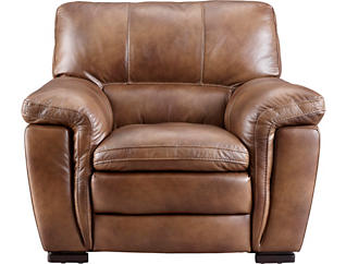 Max Brown Leather Chair, Brown, large