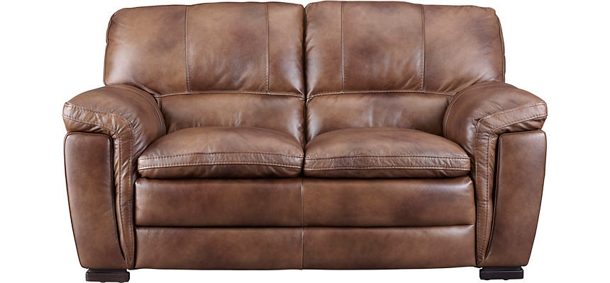 Max Brown Leather Loveseat