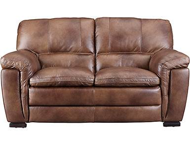 Max Genuine Leather Loveseat, Brown, , large