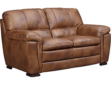 Max Brown Leather Loveseat, Brown, large