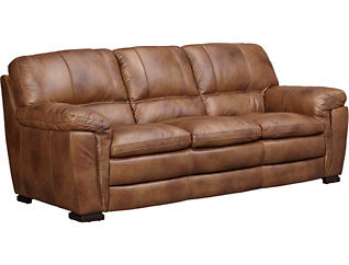 Max Brown Leather Sofa, Brown, large