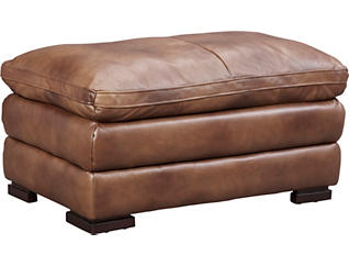 Genuine Leather Pillow-top Max Ottoman, Brown, , large