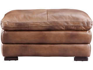 Max Brown Leather Ottoman, Brown, large