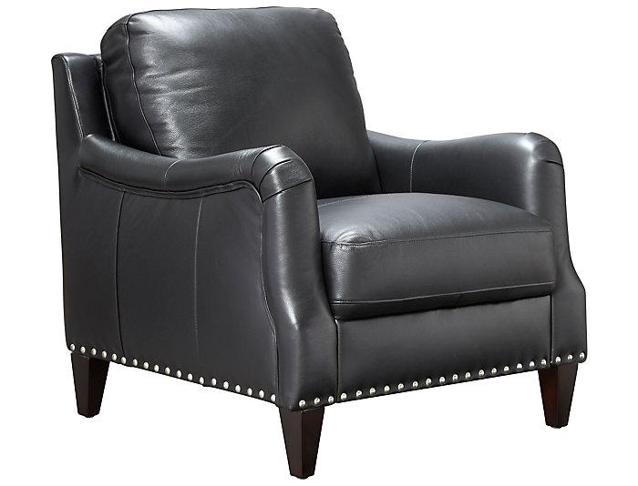 ... ROMA Eva Genuine Leather Chair With Nail Head Trim, Black, , Large ...
