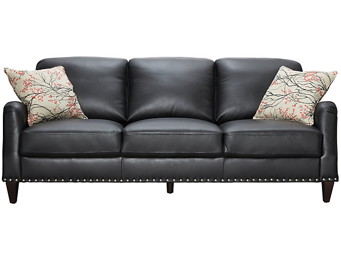 Roma Genuine Leather Eva Sofa Black And Red Large