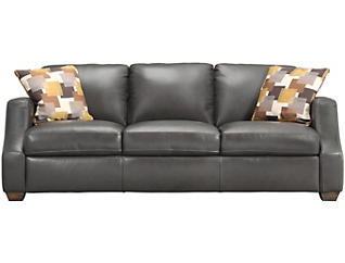 ROMA Genuine Leather Upholstered Carmine Sofa, Grey and Yellow, , large