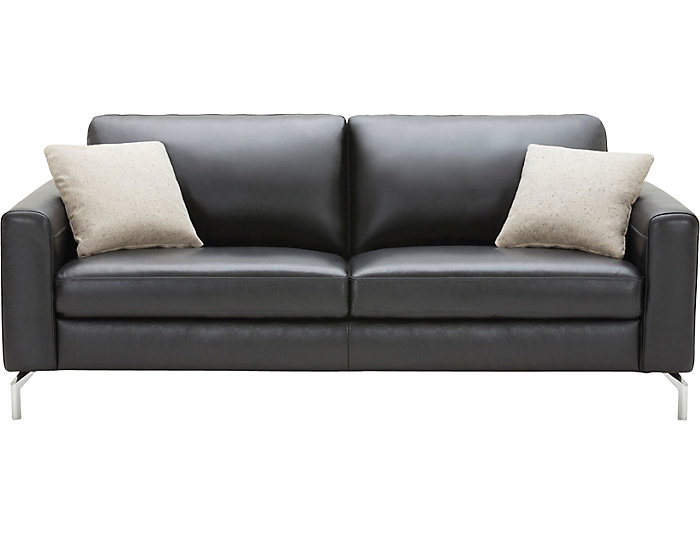 Matera Black Leather Sofa