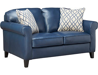Venice Blue Leather Loveseat, Blue, large