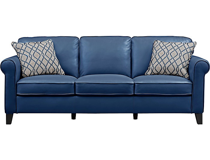 Venice Blue Leather Sofa | Art Van Home