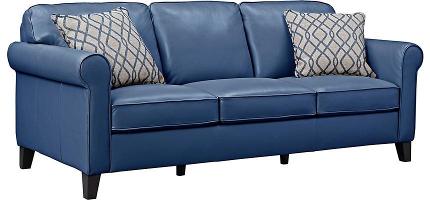 Venice Blue Leather Sofa