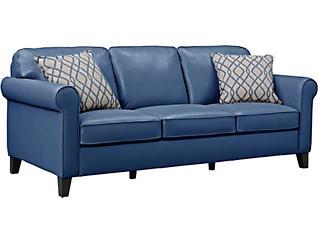 Venice Blue Leather Sofa, Blue, large