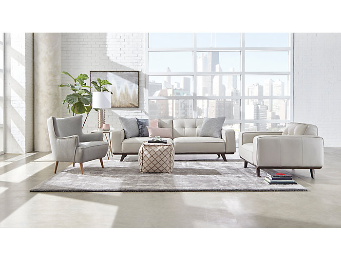 Turin Ivory Leather Sofa