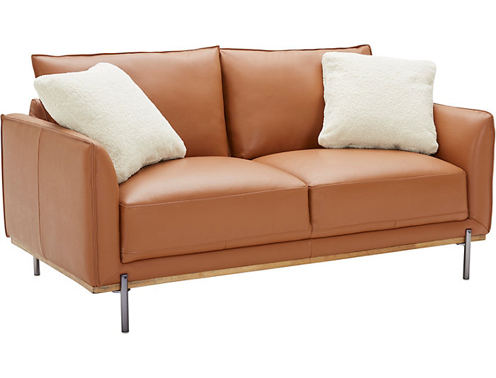 Sorrento Brown Leather Loveseat