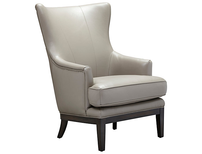ROMA Genuine Leather Como Accent Chair, Taupe, , Large ...
