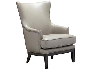 ROMA Genuine Leather Como Accent Chair, Taupe, , large