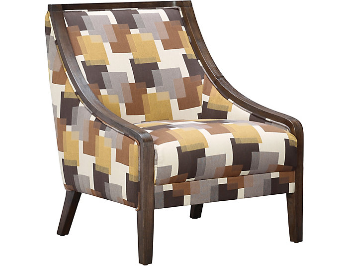 ROMA Carmine Accent Chair, Grey/Brown/Gold, , Large ...