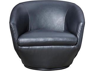 Marielle Black Leather Swivel Chair, Black, large