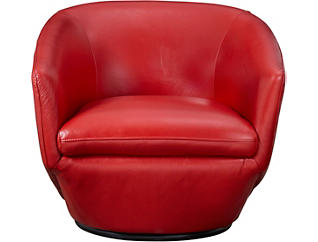 Marielle Leather Swivel Chair, , large