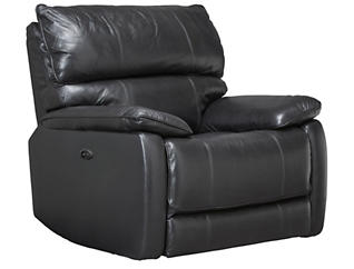 Sloan Power Leather Recliner, Black, , large