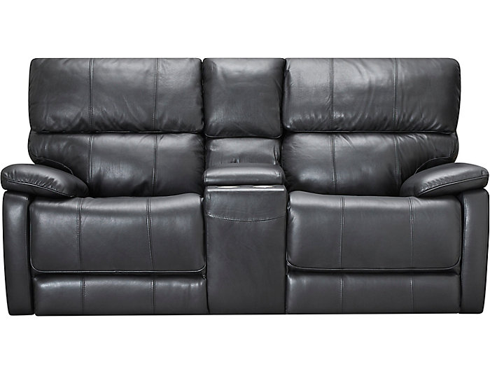 Sloan Power Leather Loveseat, Black, , large