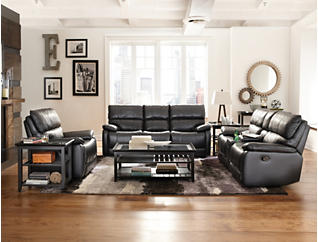 Sloan Black Power Reclining Leather Console Loveseat, Black, large