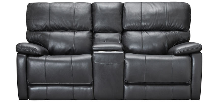 Sloan Black Reclining Leather Console Loveseat