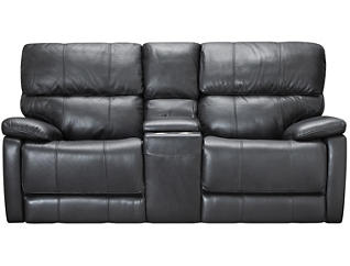 Sloan Reclining Console Loveseat, Black, , large