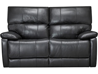Sloan Reclining Leather Loveseat, Black, , large