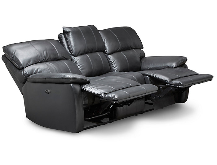 Sloan Power Reclining Leather Sofa, Black | Art Van Home