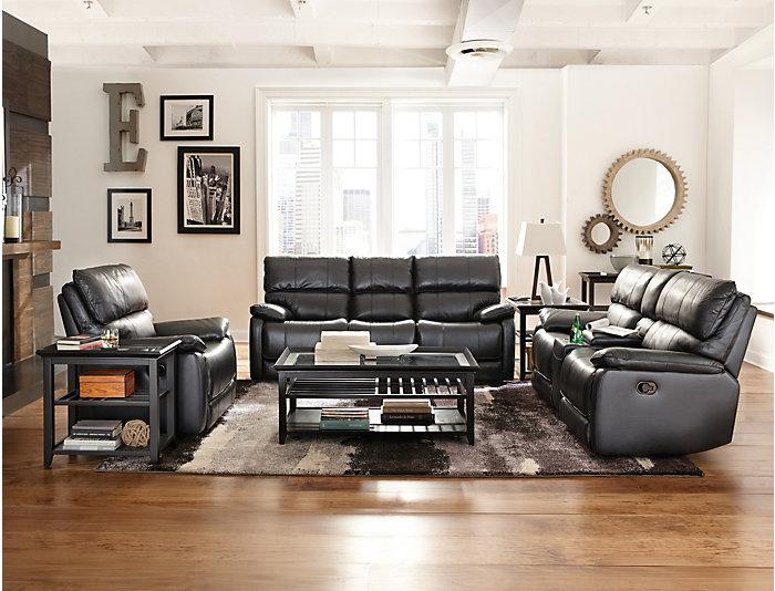 Sloan Reclining Leather Sofa, Black, , large